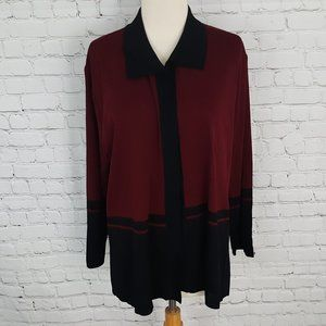 Misook Jacket Burgundy Black Petite Plus 2P 2X